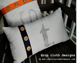 Monogrammed Drop Cloth Ribbon & Buttons Pillow