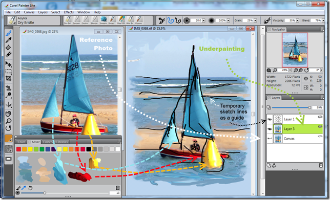 Example of the Corel Painter Lite screens