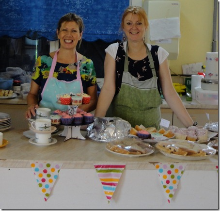 Afternoon tea – l-r - Judith Bannister and Debra Walker serve drinks and cakes