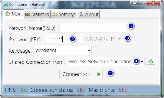 الواجهة الرئيسية لبرنامج Connectme