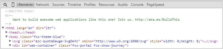 Microsoft recruitment ad in the HTML source of the Azure portal