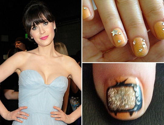Zooey Deschanel Nail Art at Primetime Emmy 2012