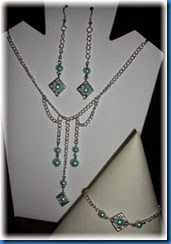 Bead Frame Jewellery set with blue glass pearls April 2014