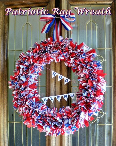 Patriotic Rag Wreath w text header