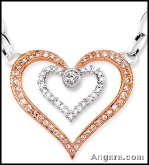 Round Diamond Twin Heart Pendant