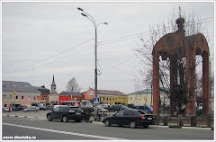 Центр города Можайска. Вдали - Никольский собор.