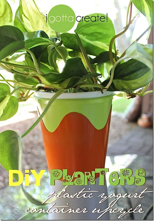 DIY Yogurt Container Planters by I Gotta Create