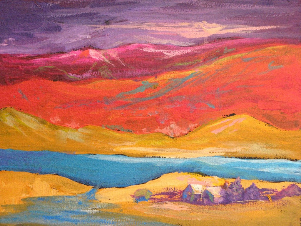"""Bright Imaginary Landscape"" Acrylic"