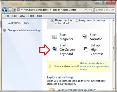 เปิดใช้งาน on screen keyboard