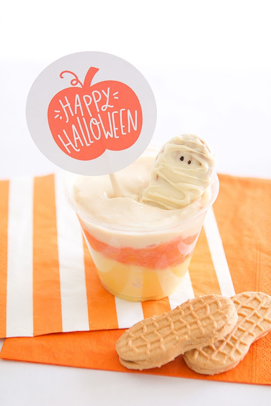 Candy Corn Pudding Parfait and Free Halloween Printable