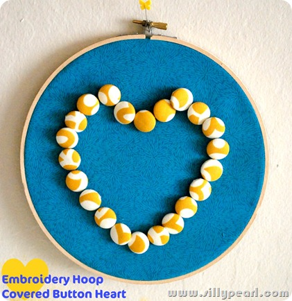 Embroidery Hoop Covered Button Heart