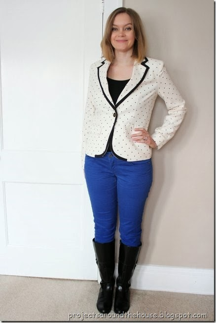 Polka dot blazer with colored skinny jeans and tall boots