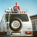 Svenja auf dem Dach des ersten Outback Africa Safarifahrzeugs, Johannesburg, 1997