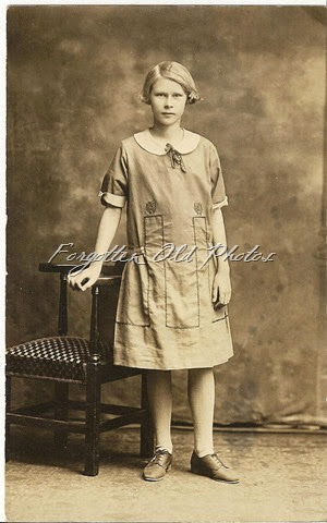 Real Photo Postcard Azo Triangles up and down  Gal in a different style dressPR Antiques