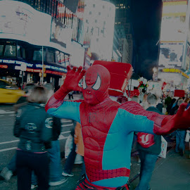 Spiderman rescue by Trond Strand - People Street & Candids ( spiderman, night, nyc, people, street photography,  )