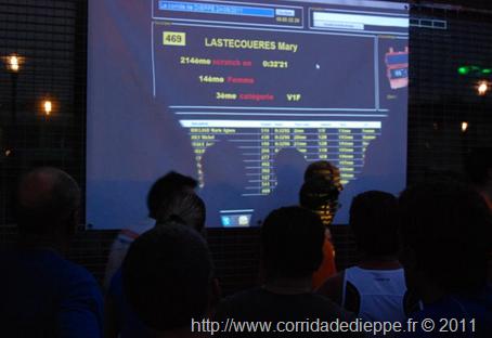 Affichage de la classement du coureur en temps réel à l'arrivée