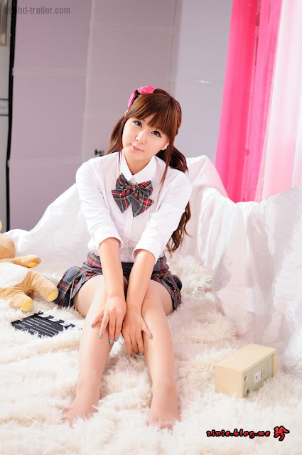 Ryu Ji Hye – Grey and Red School Girl