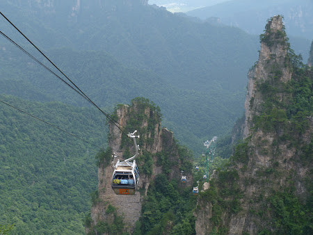 Transport pe cablu in China: telecabina Zhangjiajie