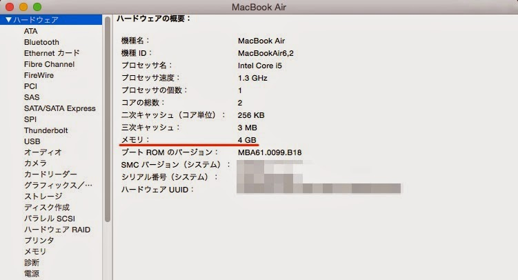 MacのRAM確認画面