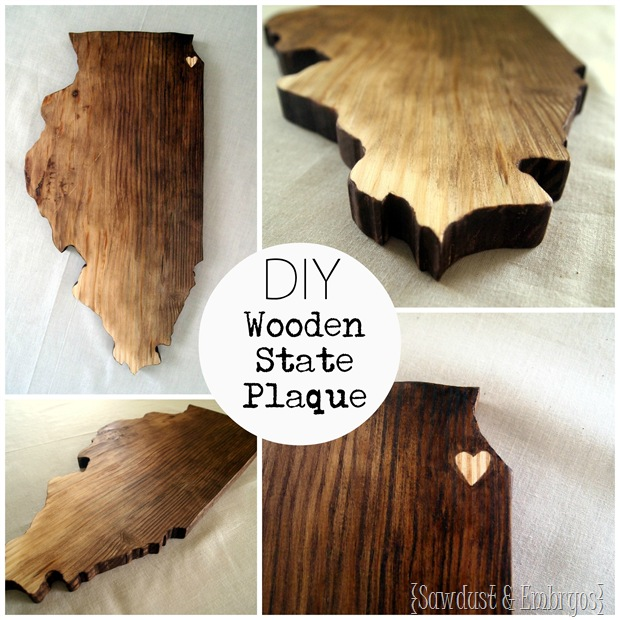 DIY Wooden State (or Country) Plaque by Sawdust and Embryos!