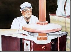 Wolfgang Kehrer in seiner Mühle, Aquarell_Portrait