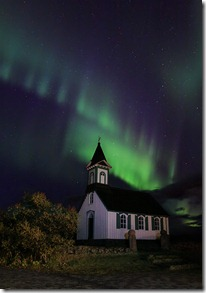 Iceland church under Northern Lights