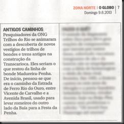 Jornal O Globo Caderno Zona Norte 09-06-2013