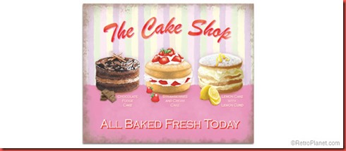 Retro Cake Shop Tin Sign
