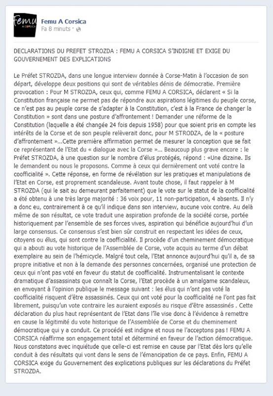 Comunicat Femu A Corsica