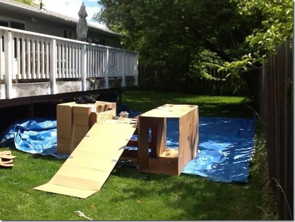 Como fazer um playground com caixas de papelão vazias (2)