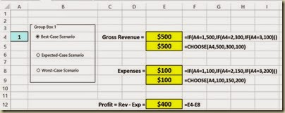 Scenario Analysis in Excel - Option Button Scenario 1