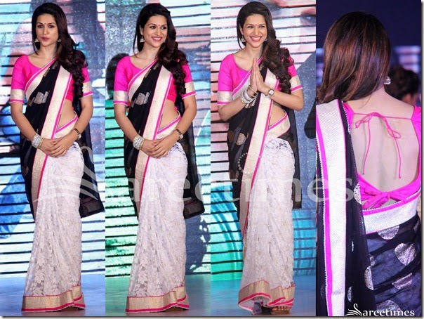 Shraddha_Das_White_Black_Half_and_Half_Sari(1)