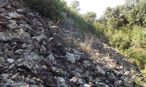 Derrumbe de la muralla del Castro El Castellar de Javier