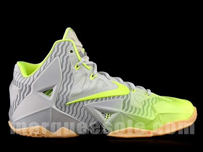 nike lebron 11 grey volt 3m 1 01 Nike LeBron 11 in Volt and Grey with Gum, Stripes and 3M
