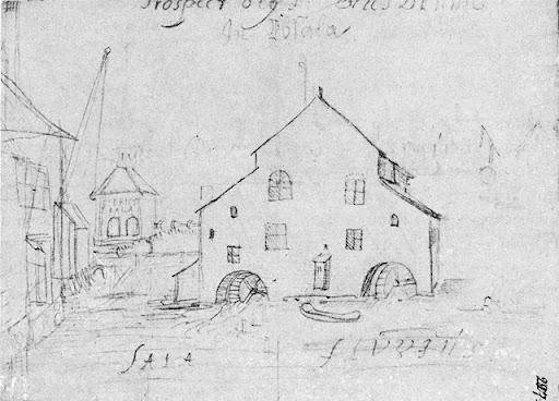 skiss av Akademikvarnen och Kvarnbron från 1660-talet