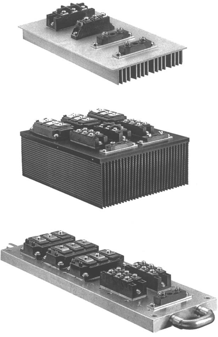 heat sinks with power semiconductors mounted on them