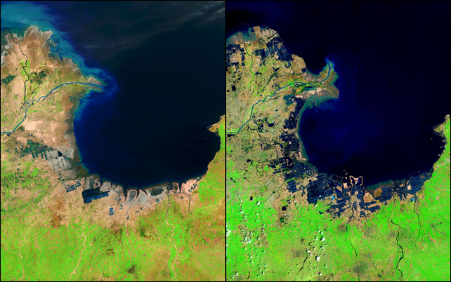 Satellite view of river delta changes in China. China's Huang He (Yellow) River is the most sediment-filled river on Earth. Each year, it transports millions of tons of soil from a plateau it crosses to a delta it has built in the Bohai Sea. These images show the delta's growth from 1985 to 2014. The latter image also shows another change: ponds that hold shrimp and other seafood (seen here as dark geometric shapes along the coastline) were built on what were once tidal flats. Photo: U.S. Department of the Interior / USGS / NASA