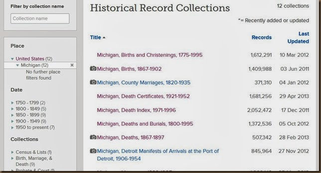 familysearch mich selections