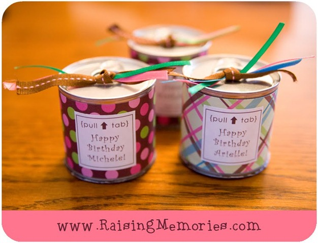 birthday party favors in a pop can