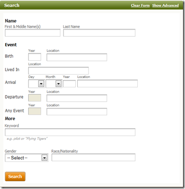 The Ancestry.com passenger list category search form