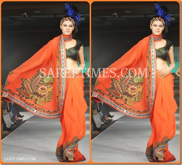 Orange_Designer_Printed_Saree
