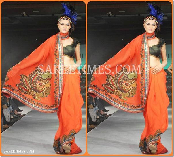 Orange_Designer_Printed_Saree