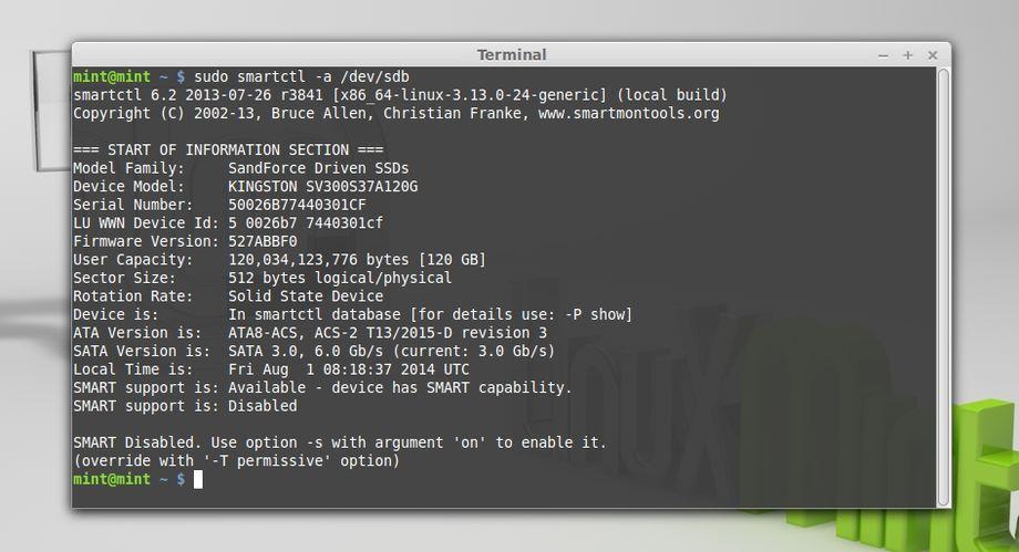 Linux smartctl