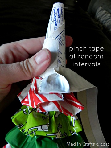 pinch tape to create ruffles
