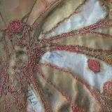 Book Wrap 09  embroidery, organza lace, print 30 cm x 25cm