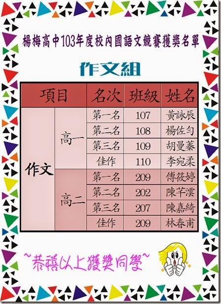 103年度校內國語文競賽獲獎名單-作文組