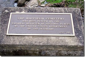 Hatfield Cemetery Plaque on National Register of Historic Places