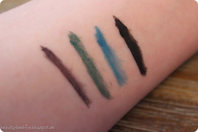 MAC Mac is Beauty LE Fluidline Blacktrack Macroviolet Ivy Blue Peep Swatches
