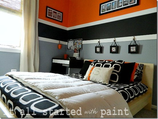 Room Orange Gray Black Ikea Malm Bed