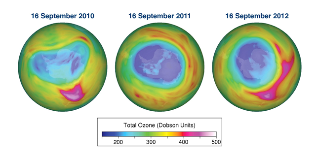 Total ozone maps for 16 September 2010, 2011, and 2012 based on data from GOME-2 on board the MetOp-A satellite. The data are processed and mapped at the Royal Netherlands Meteorological Institute (KNMI). wmo.int